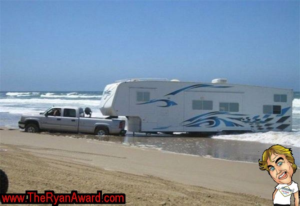 EPIC FAIL 5th Wheel Camper Stuck In Ocean