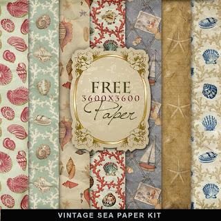 Scrapbook Freebie Vintage Sea Paper by farfarhill