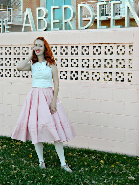bow cropped top 1950s pink circle skirt spectators saddle shoes Just Peachy, Darling