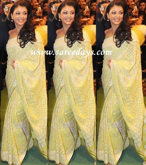 Latest saree designs aishwarya rai in green designer saree aishwarya rai in green designer saree altavistaventures Image collections