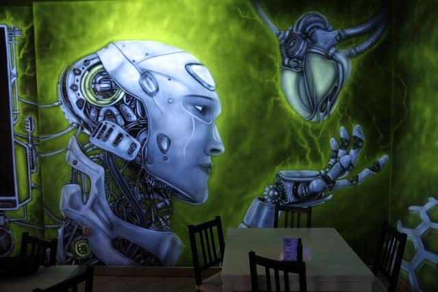 Malowanie na ścinie obrazu 3D, mural UV świecący w ciemności, obraz z luminoforewm
