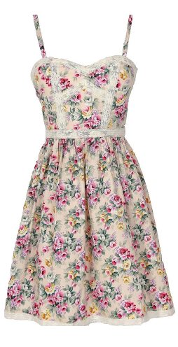 Rose Floral Printed Designer Dress