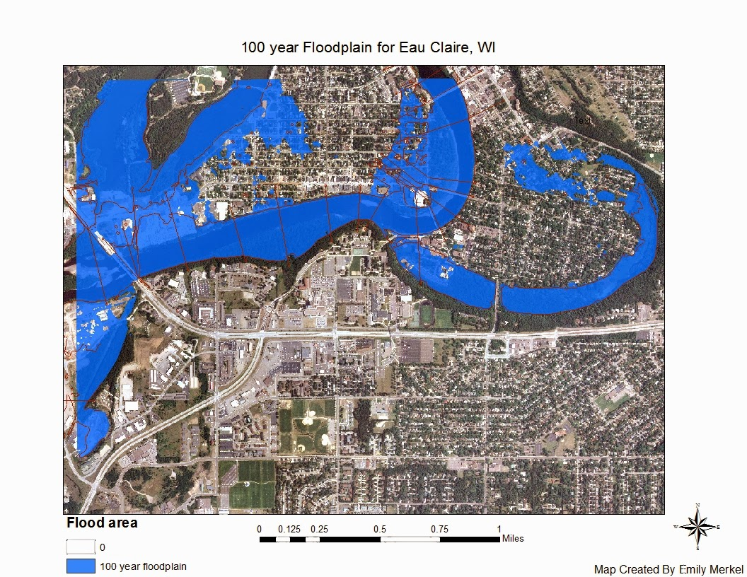 this image shows a 100 year flood plain for the city of eau claire outlined in red is the fema flood plain zone in blue is the flood plain that we