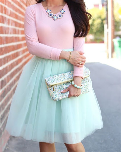 Pleated mint tulle skirt