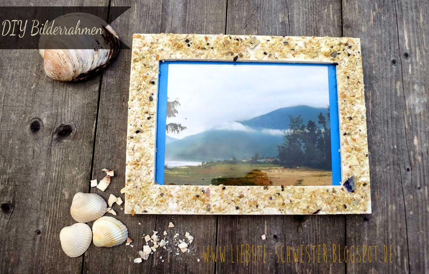 DIY Sommer Sand und Strand Bilderrahmen