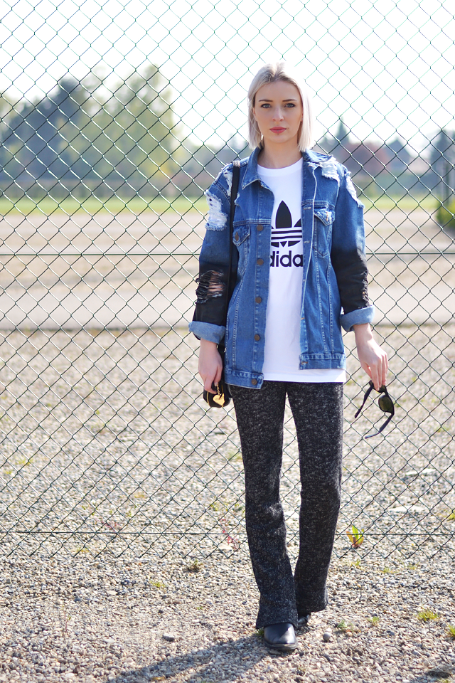 Adidas logo t shirt, zalando, asos, ripped, denim, jeans jacket, knit trousers, flared trousers, h&m trend, outfit post, street style, fashion blogger