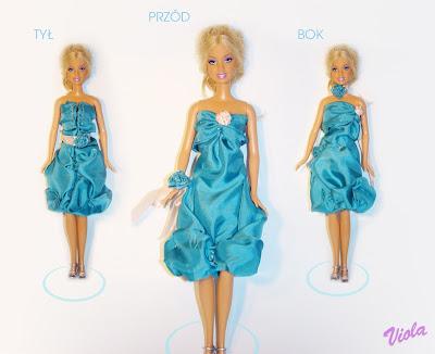 turkusowa sukienka dla barbie
