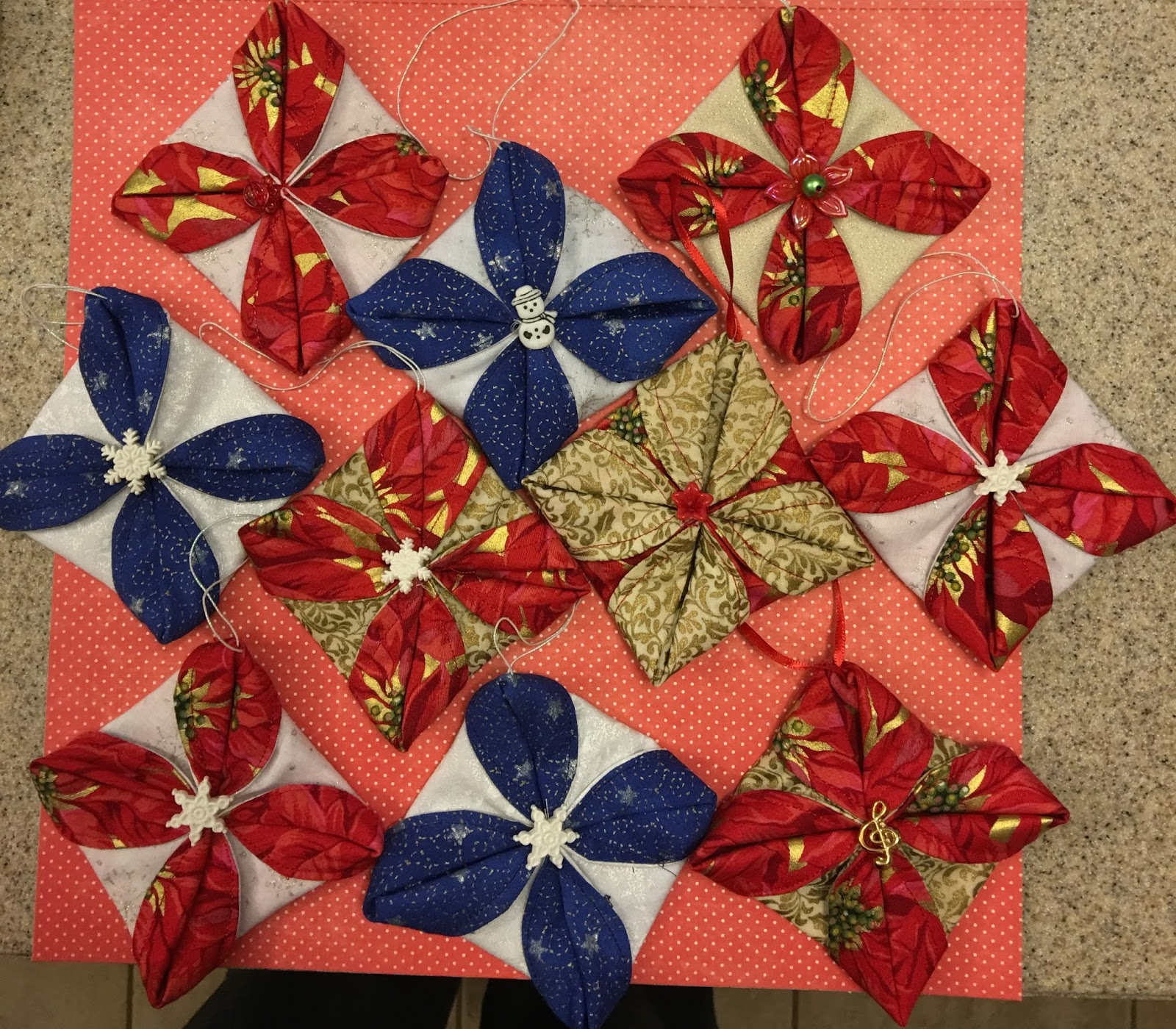Folded fabric christmas ornaments patterns - I Saw The Instructions For Making These Folded Fabric Ornaments On You Tube The Video Is By Someone With The Unlikely Name Of Crouton Crackerjacks