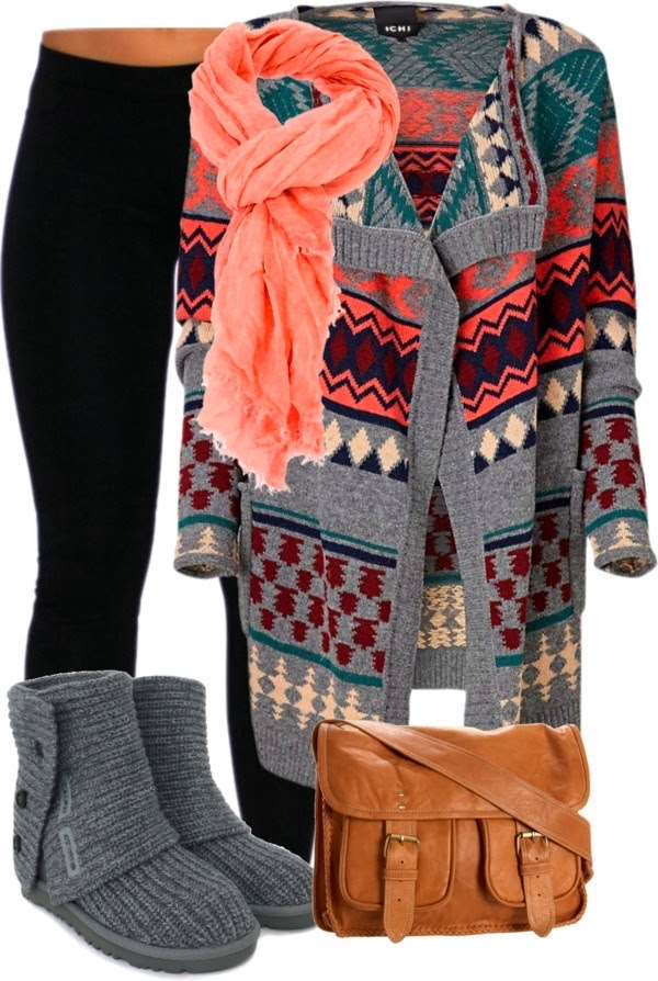 Winter Outfit -  With Oversized Cardigan, Black Leggings, Amazing Pink Scarf, Shoes and Brown Handbag