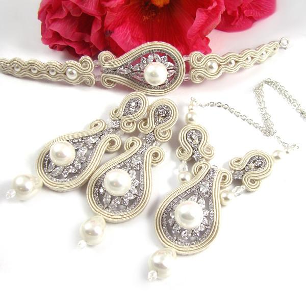 Sutasz ślubny - komplet biżuterii z perłami
