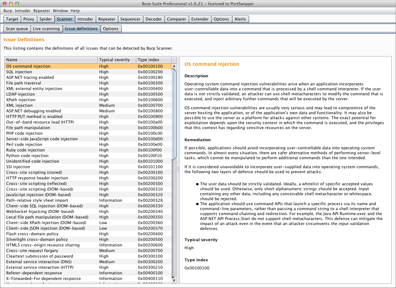 Burp suite release notes 1621 additionally the definitions for all available issues can now be viewed within the burp ui at scanner issue definitions 1betcityfo Images