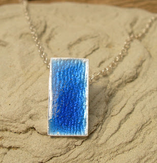 Silver and Sapphire Glass Enamelled Pendant