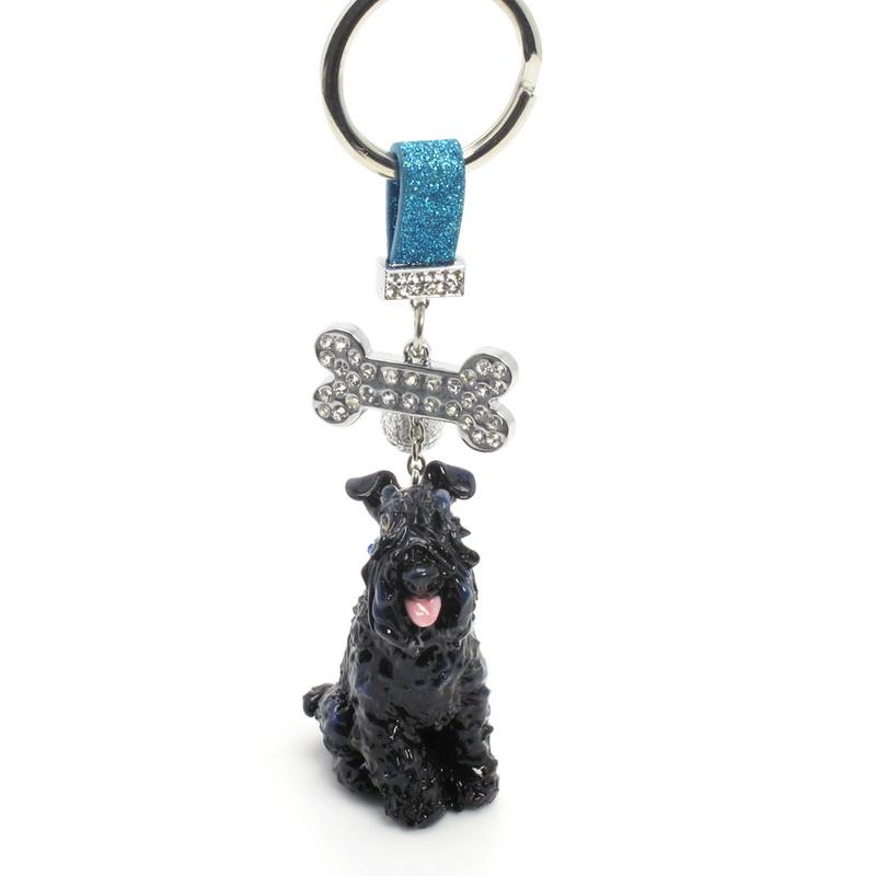 Kerry Blue Terrier Silver Keyring