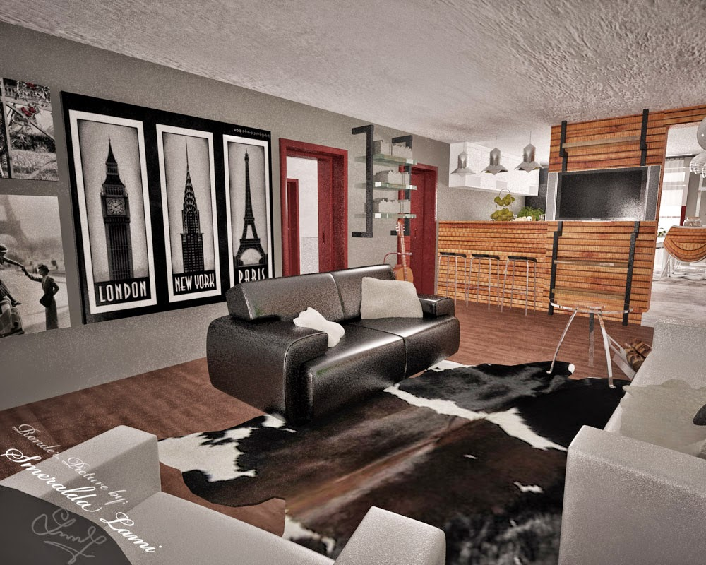 Warm industrial living room - This Is The Living Room And Has A More Warm Feeling The White Furniture Intensifies Light And The Black Furniture Makes Contrast