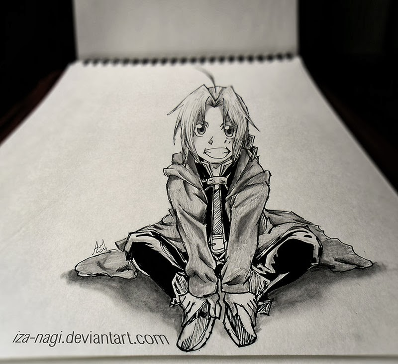 14-Edward-Elric-Izanagi-Aadi-aka-Iza-nagi-3D Pencil Drawings-www-designstack-co