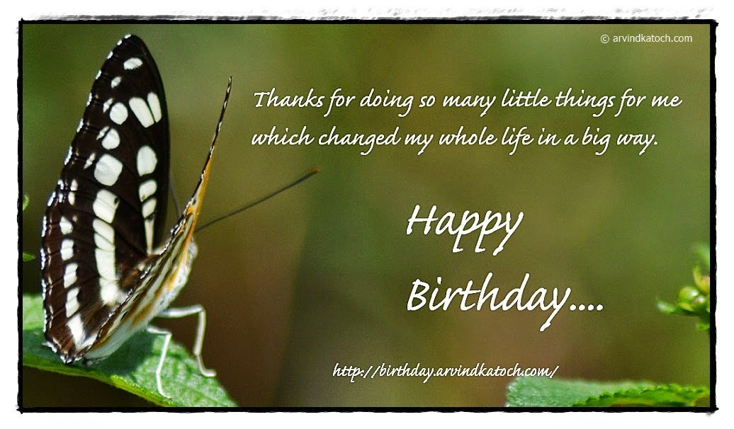 little, things, life, big way, Birthday, Card, Butterfly,