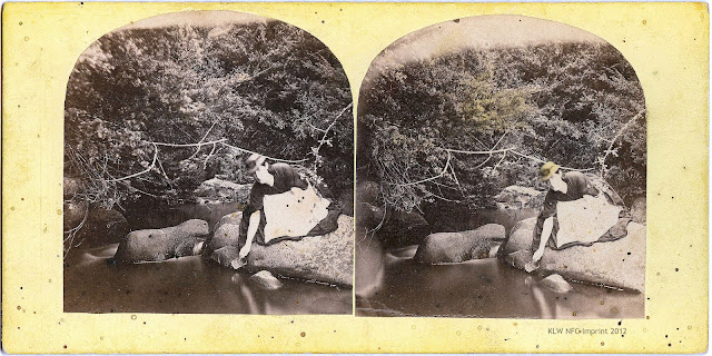 Mary Anne Nevin at New Town creek, T. Nevin stereo ca 1870