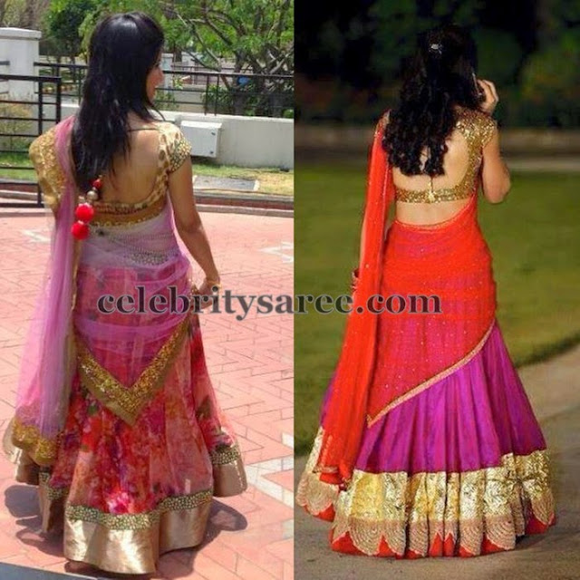 Half Sarees with Back Neck Blouses