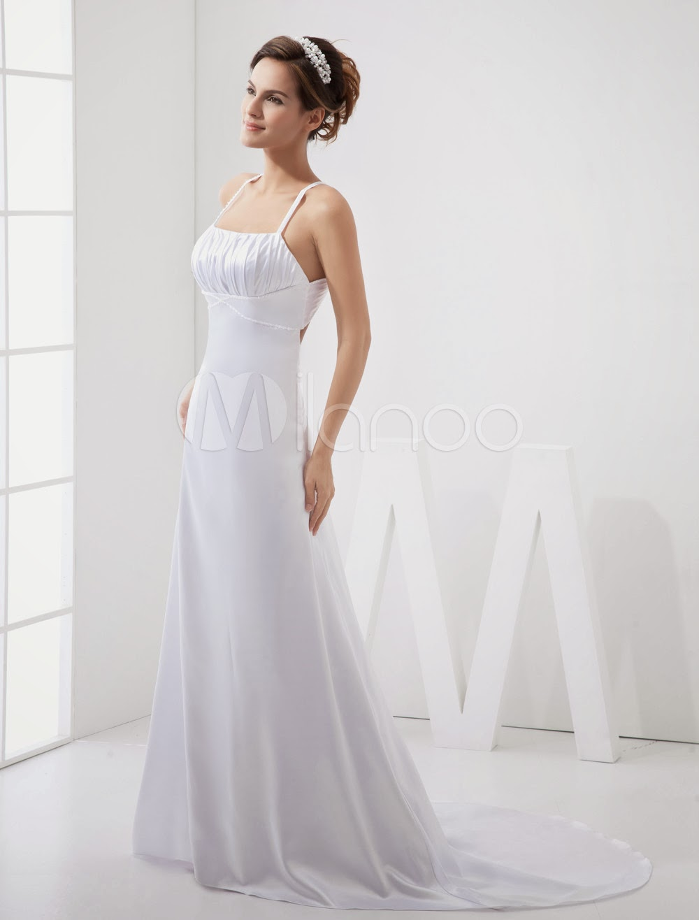 China Wholesale Dresses - A-line Spaghetti Empire Waist Beading Elastic Woven Satin Pongee Wedding Dress