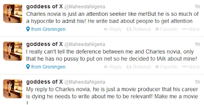 Maheeda is like a Nanny Goat who threw her Decorum out  - - Charles Novia.