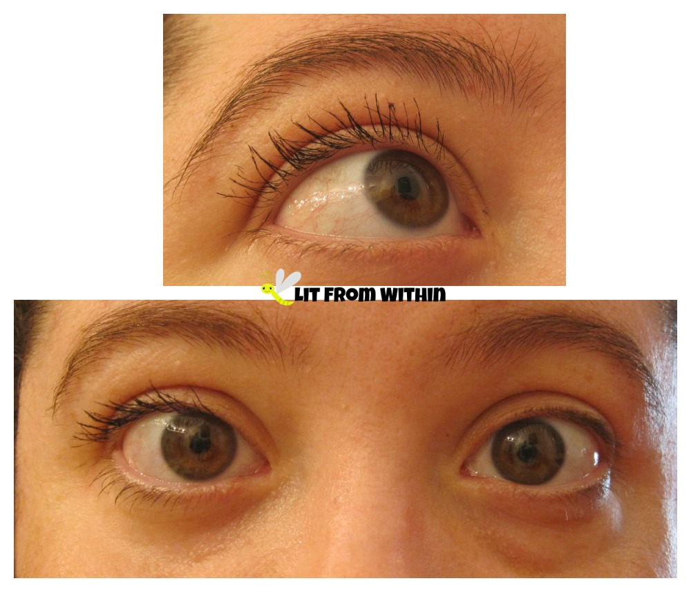 Mia Adora 3D Fiber Lash on one eye versus natural lashes