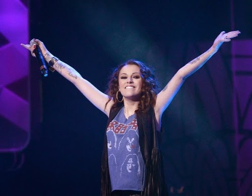 Cher Lloyd wearing Kiss T-shirt
