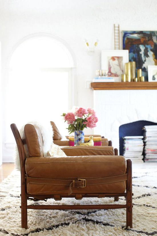The leather chairs in Emily Henderson's home.