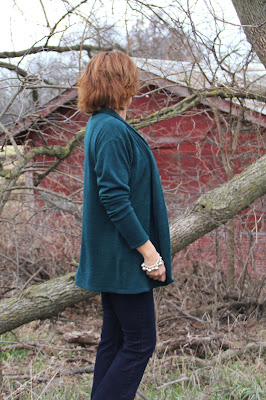 Style Maker Fabrics' sweater knit made using Seamwork Oslo cardigan
