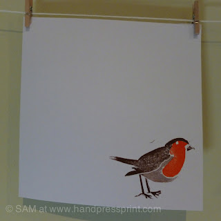 robin, snow, christmas card, hand press print, lino print