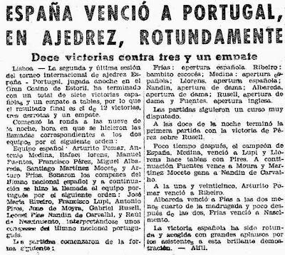 Recorte Mundo DEportivo sobre el I Encuentro Ibérico de Ajedrez 1945