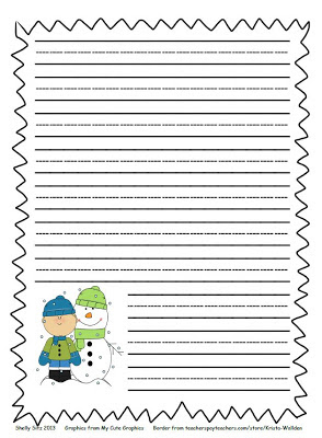 ... and Shining in Second Grade: Winter Writing Paper and Winter Word Bank