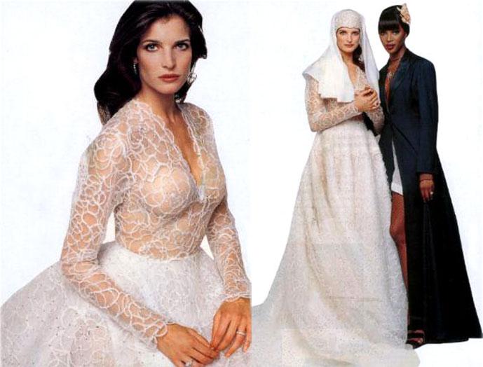 Stephanie Seymour in a custom made wedding dress designed by Azzedine Alaia
