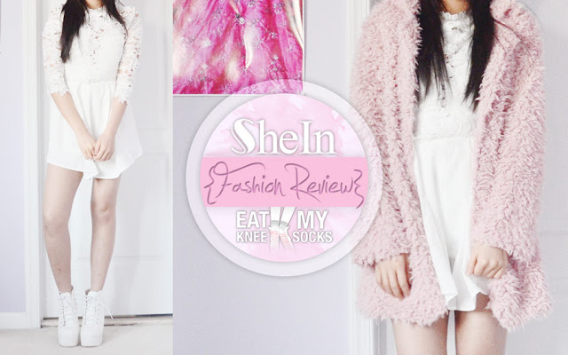 Hey everyone! I'm back again today with another SheIn review of two items: a white mock neck lace romper and a pink longline faux fur coat. Details ahead! - Eat My Knee Socks/Mimchikimchi