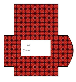 Red floral pattern Print and Cut Gift Card Envelope
