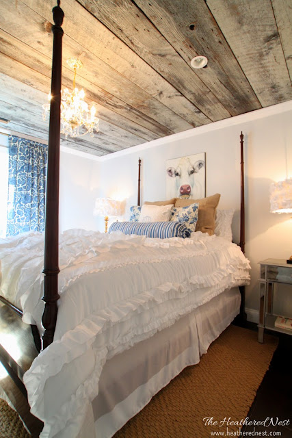 Heathered Nest modern country guest room with barnboard ceiling!