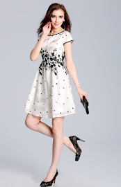 Short Sleeves Black Flowered Pattern White Fit and Flared Dress