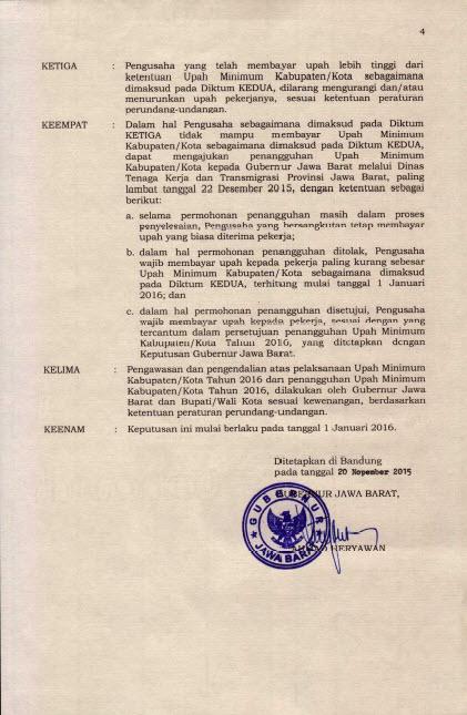 SK Gubernur Jawa Barat UMK 2016 Hal 4