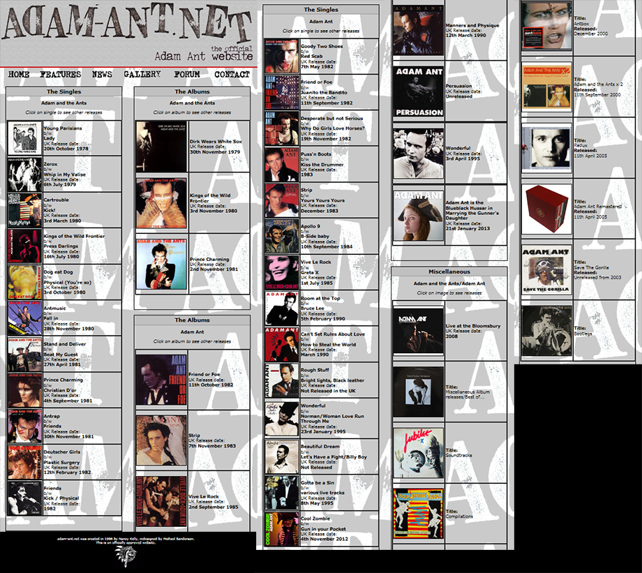 Adam Ant's discography at www.Adam-Ant.net, 2014.