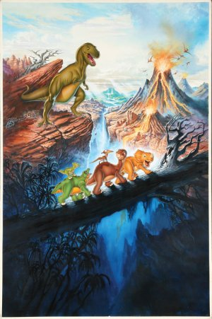 exploding volcano and dinosaurs crossing a bridge in The Land Before Time