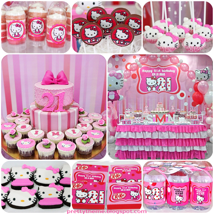 Birthday Party Hello Kitty Theme Image Inspiration of Cake and
