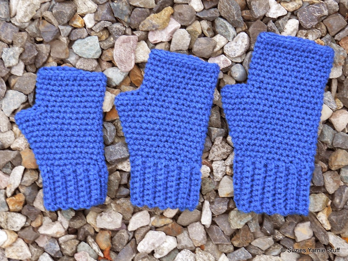 Free Crochet Pattern Childrens Fingerless Gloves : Suzies Stuff