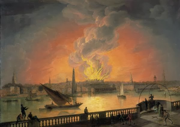 The fire at the Theatre Royal, Drury Lane, seen from Westminster Bridge, 1809
