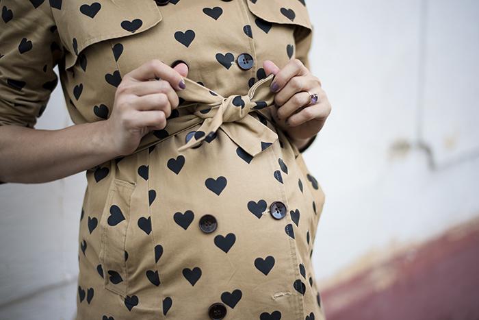 Skinny Buddha maternity wear baby doll dress heart print trench coat