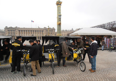 Yellow Pedicab in Paris, France