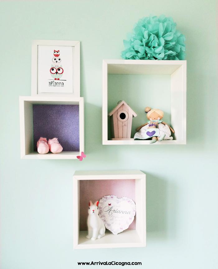 cameretta per femminuccia in verde menta, rosa e lilla