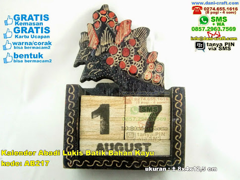 Kalender Abadi Lukis Batik Bahan Kayu