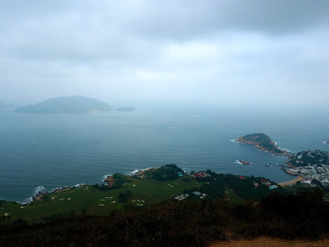 View of Shek O, golf course,  and Tung Lung Chau island from Shek O Peak on Dragon's Back trail, Hong Kong Island
