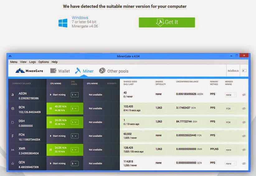 Mining bitcoin melalui software di minergate