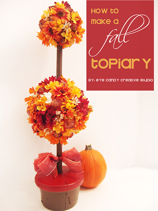 how to make a fall topiary, fall flowers, decorating for fall, pumpkins