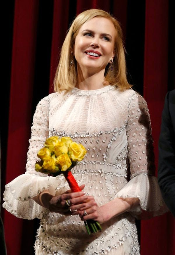 Nicole Kidman wears a white gown by Maison Valentino at the Berlin Film Festival in Germany on Friday night, February 6, 2015